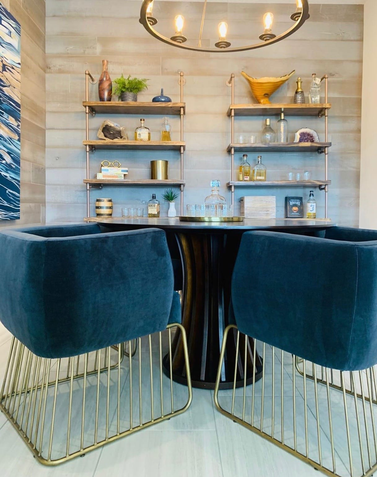 Blue and gold dining chairs.
