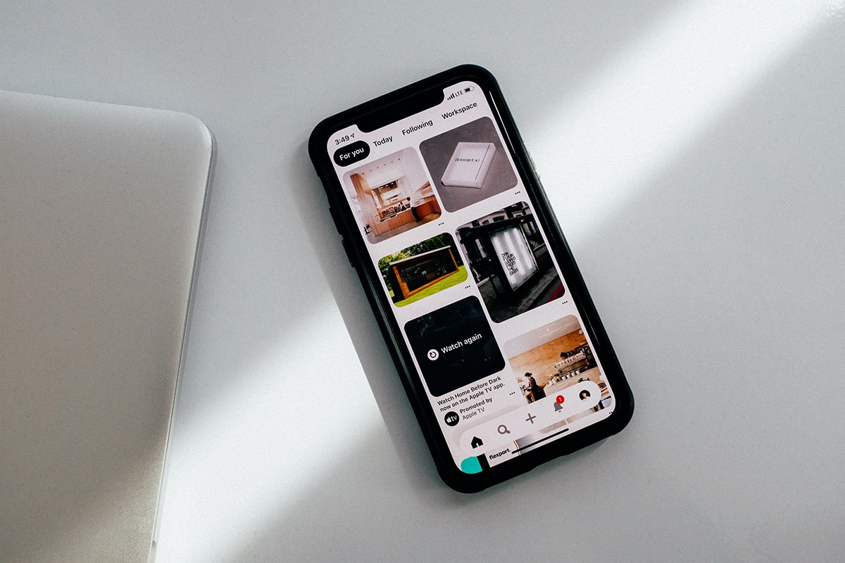 iPhone screen showing results of Pinterest home feed